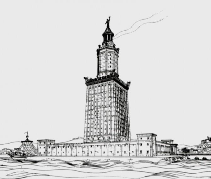 So könnte der Leuchtturm von Alexandria nach einer Zeichnung des Archäologen Hermann Thiersch ausgesehen haben / gemeinfrei / Foto oben: