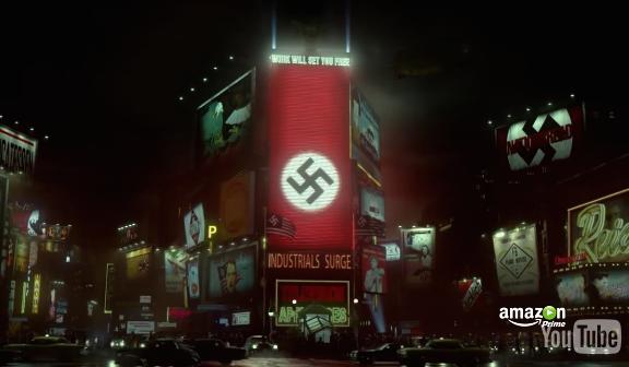 """Alternative Wirklichkeit: Hakenkreuz-""""Werbung"""" am Broadway in """"The Man in the High Castle"""" / Screenshot Youtube"""