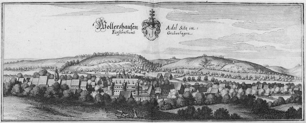 Wollershausen um 1655 mit dem Vorgängerbau des heutigen Schlosses / Foto: gemeinfrei / Foto oben: gemeinfrei