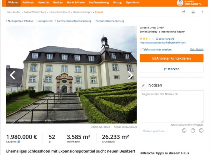Verkaufsanzeige für Schloss Oberstotzingen auf Imoscout / Bild: Screenshot
