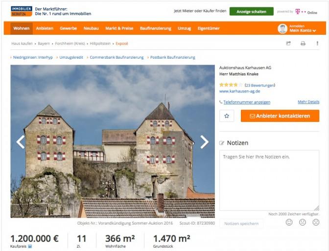 Burg Hiltpoltstein steht bei Imoscout zum Verkauf / Screenshot: Immobilienscout24