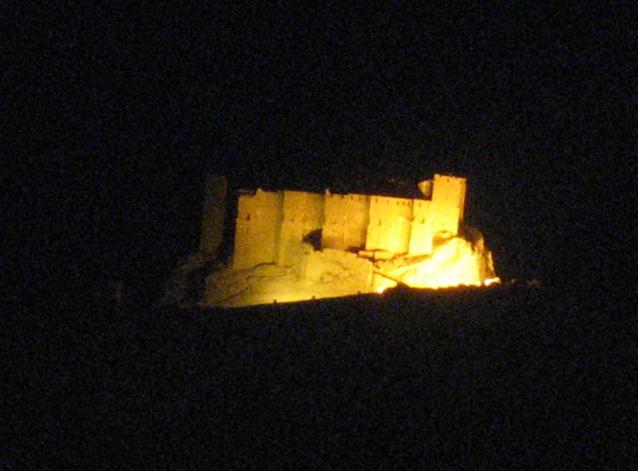 Die Burg über Palmyra wurde vor dem Bürgerkrieg nachts angestrahlt / Foto: Burgerbe.de