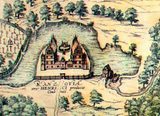 Schloss Rantzau auf seiner Insel im 16. Jahrhundert / Bild: gemeinfrei