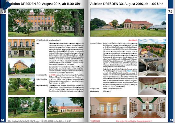 Im Auktionskatalog ist für Schloss Königsbrück bei Dresden eine Doppelseite reserviert. Bild Screenshot Katalog