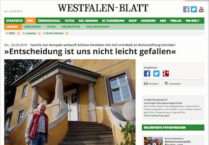 Das Westfalen-Blatt meldet den Verkauf von Schloss Hembsen / Bild: Screenshot