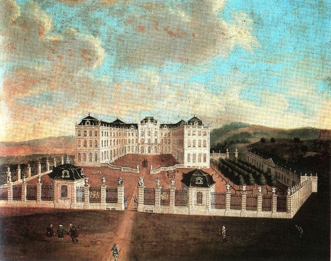 Das Saarbrücker Schloss wie es 1748 bis zum Brand 1793 aussah / Bild: gemeinfrei /  Foto oben: Flicka / CC-BY-SA 3.0