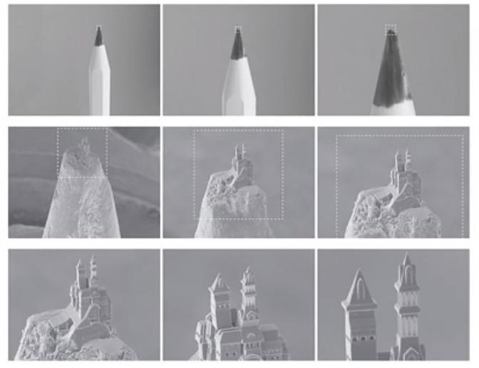 Das bislang kleinste Schloss der Welt wurde aus einer Bleistiftspitze herausgelasert / Bilder_ Screenshots aus Youtube-Film der TU Wien