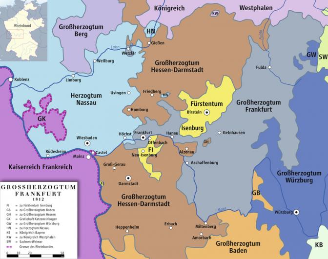 Das Fürstentum Isenburg (gelb) im Jahr 1812. Bild: Ziegelbrenner / CC-BY-SA 2.5