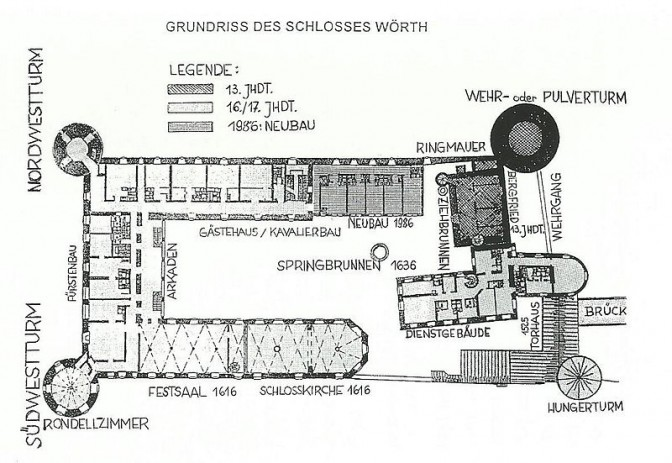 Grundriss von Schloss Wörth / gemeinfrei