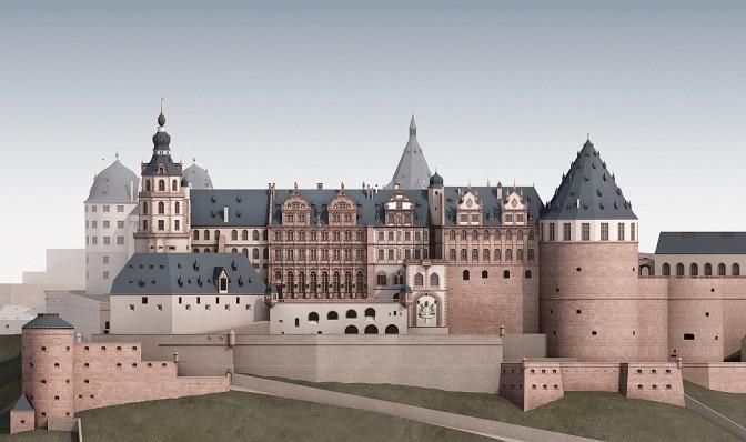 Prächtige Residenz: Rekonstruktion des Heidelberger Schlosses um 1683 / Bild oben: Der Schlosshof (Bilder: KIT)