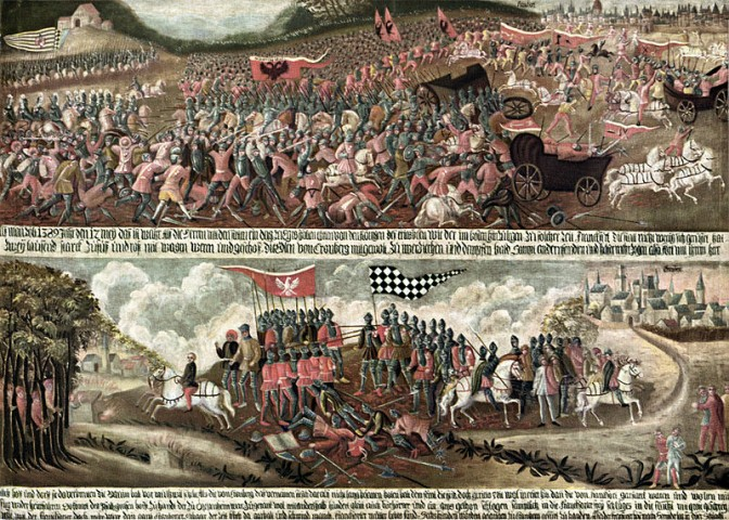 1389 erlittern die Frankfurter in der Schlach bei Eschborn eine schwere Niederlage: Die Schelme von Bergen standen auf der Seite der Sieger / Foto: gemeinfrei