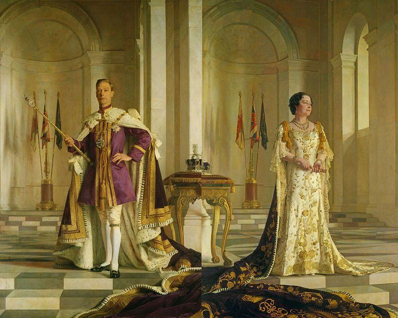 König George VI. und die spätere Queen Mum im Krönungornat, man beachte die Schleppe... / Foto: gemeinfrei