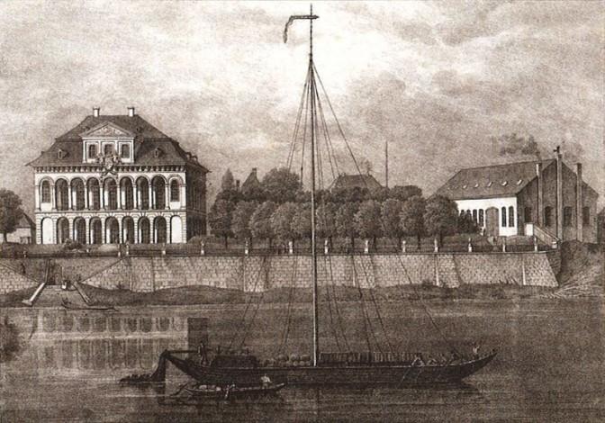 Lithografie von 1836: Schloss Übigau als Sitz der Maschinenbauanstalt Übigau / gemeinfrei