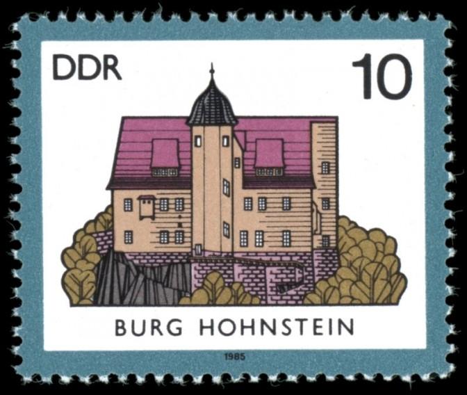 Burg Hohnstein auf einer DDR-Briefmarke / Bild: gemeinfrei