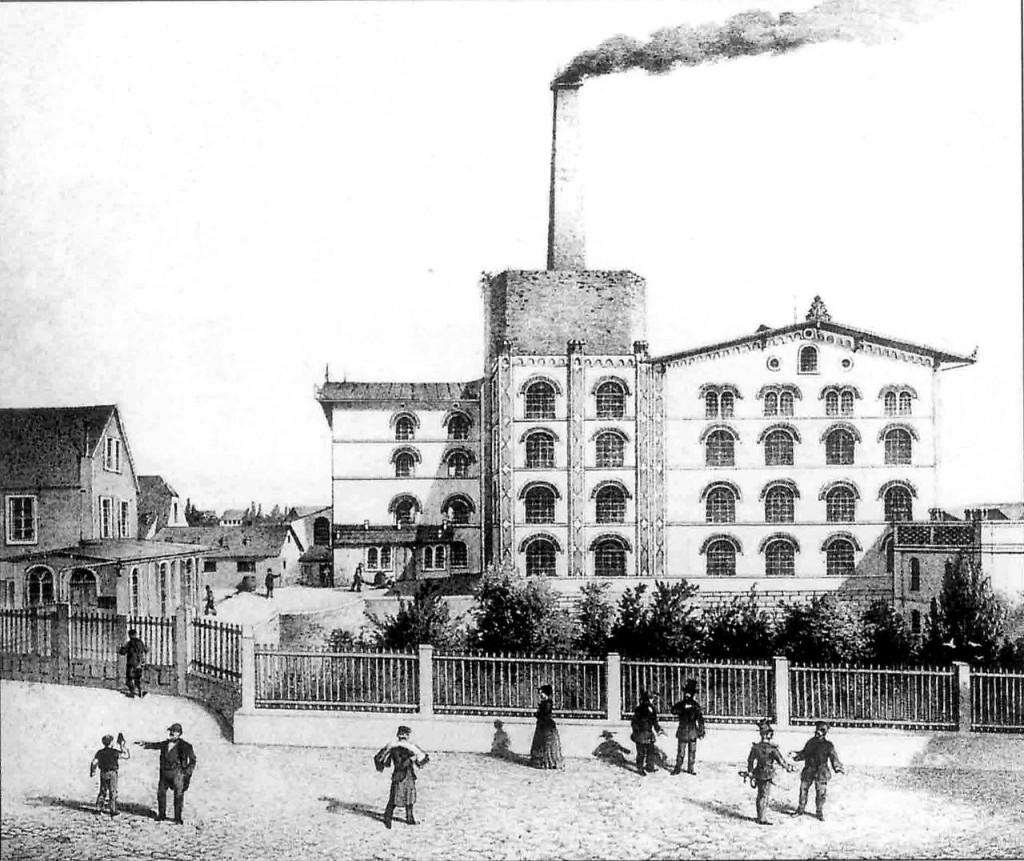 1860: Über Schloss Großenhain raucht der Schlot einer Garnspinnerei / Foto: gemeinfrei