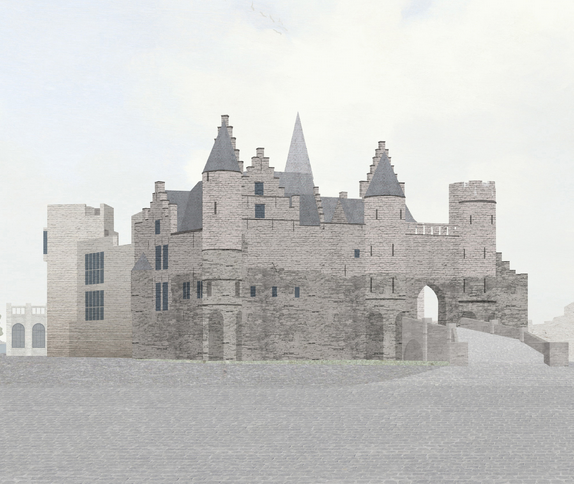 Burg Steen mit dem geplanten Anbau (links) / Grafik: noArchitecten / Foto oben: Burgerbe