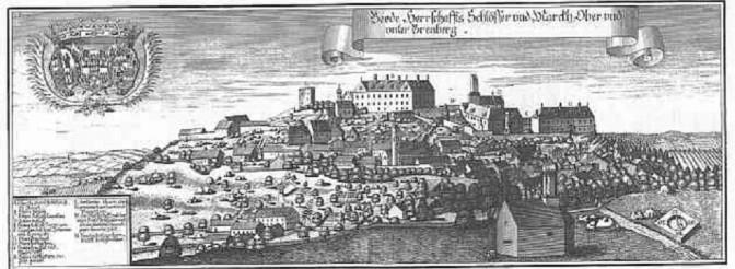 Ober- und Unterbrennberg mit Burg und Schloss Unterberberg im Jahr 1726. Bild: gemeinfrei