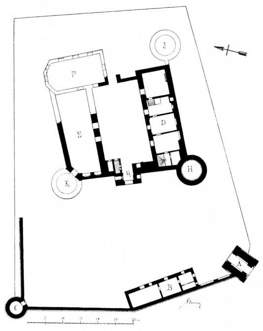 Grundriss der Burg Brüggen (erhaltene Bausubstanz in Schwarz) / Bild: gemeinfrei