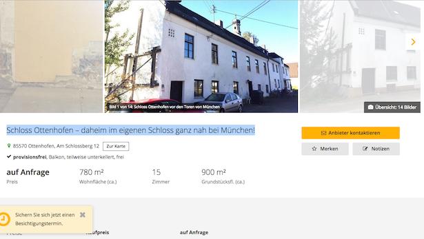 Verkaufsanzeige für Schloss Ottenhofen / Screenshot von Immobilienscout24.de