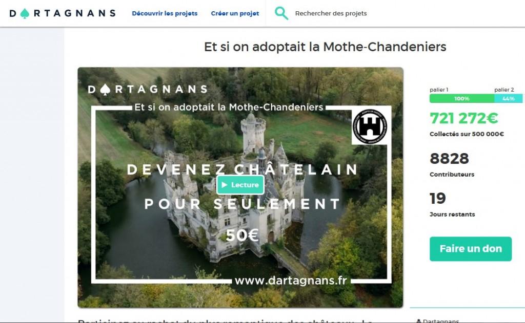 Screenshot der Seite Dartagnans.fr mit dem Stand der Spendensammlung. Bild: Screenshot
