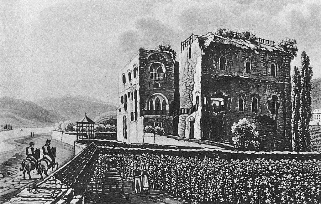 Die Brömserburg als Ruine in einer Lithografie von 1820 / Bild: gemeinfrei