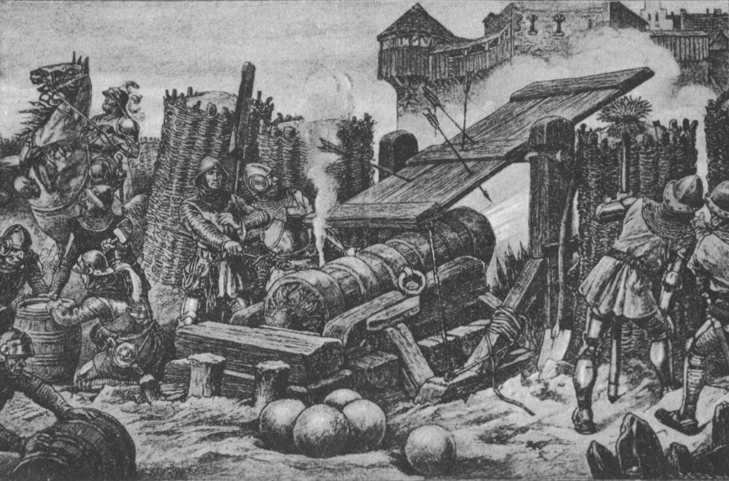 Die Faule Grete, ein Geschütz des Deutschen Ordens, bei der Beschießung der Burg Plaue 1414 / Bild: Wikipedia / Olivhill / CC-BY-SA 3.0   Foto oben: Die Mons Meg Foto: Lee Sie / CC-BY-SA 2.0