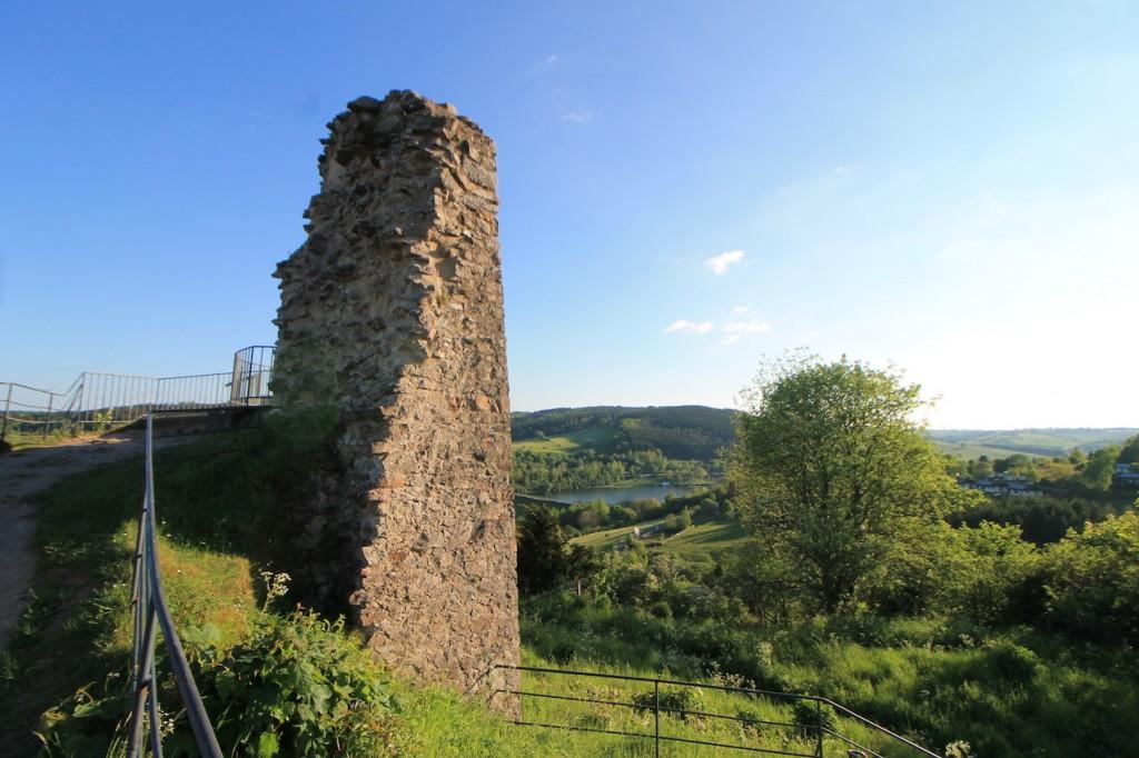 Blick von der Ruine zum Kyllsee.