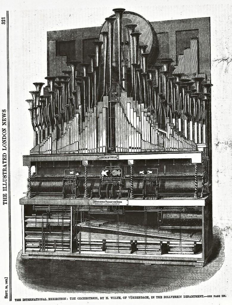 Werbung für ein Orchestrion aus dem Jahr 1862 / Bild: gemeinfrei
