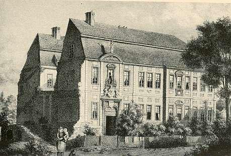 Das Halbe Schloss auf einem Stahlstich um 1850 / Bild: gemeinfrei