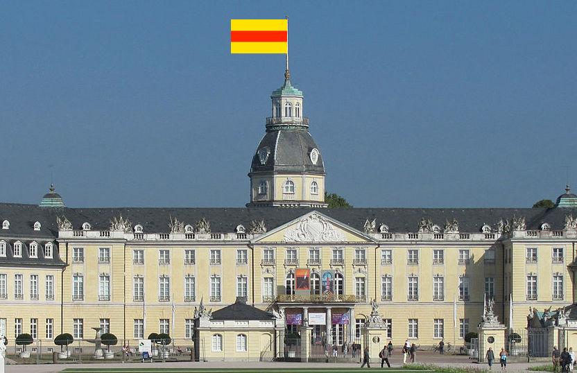 Die Badische Fahne auf Schloss Karlsruhe