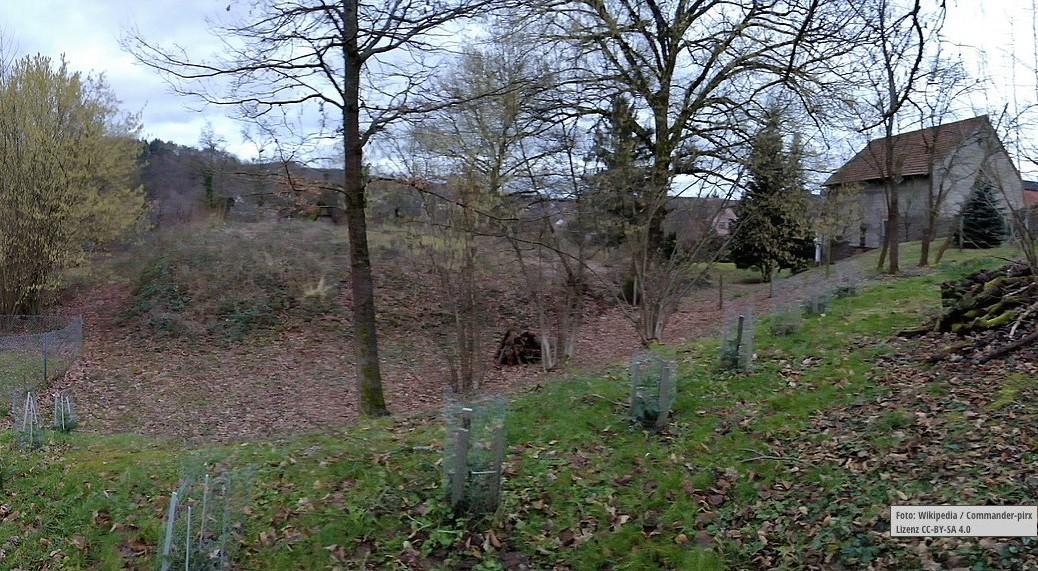 Dieser Hügel enthält alles, was von der Burg Mömbris übriggeblieben ist. Foto: Wikipedia / Commander-pirx / CC-BY-SA 4.0