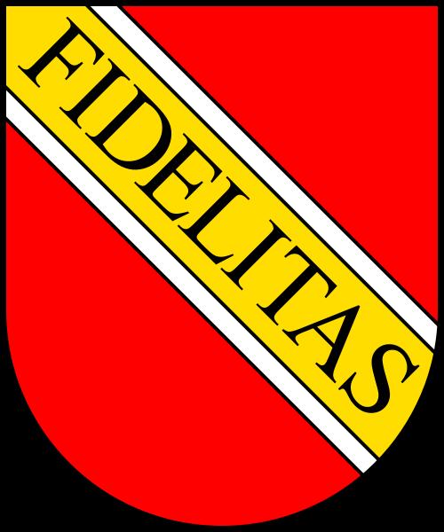 Das Stadtwappen von Karlsruhe - in den badischen Farben / gemeinfrei