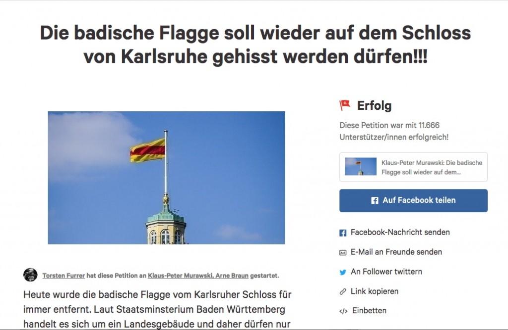 Die Onlinepetition für die Baden-Fahne am Karlsruher Schloss fand 11.666 Unterzeichner / Screenshot von Change.org / Foto oben: Wikipedia / NordNordwest / CC-BY-SA 3.0 (Montage von mir)