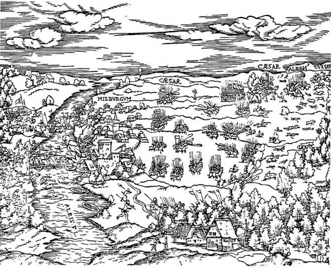 Ein Holzschnitt zeigt die Schlacht bei Mühlberg von 1547 / Bild: gemeinfrei