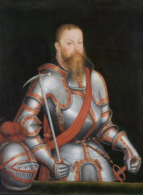 Moritz von Sachsen (1521-1553) in Dienstkleidung. Er machte Schloss Mühlberg zum Jagdschloss. Bild: gemeinfrei