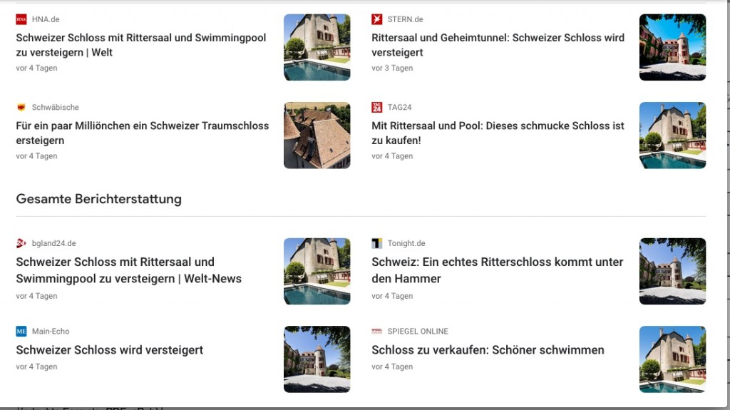 Der Agenturartikel zum Schlossverlauf machte in deutschsprachigen Medien die Runde / Screenshot via Google News.
