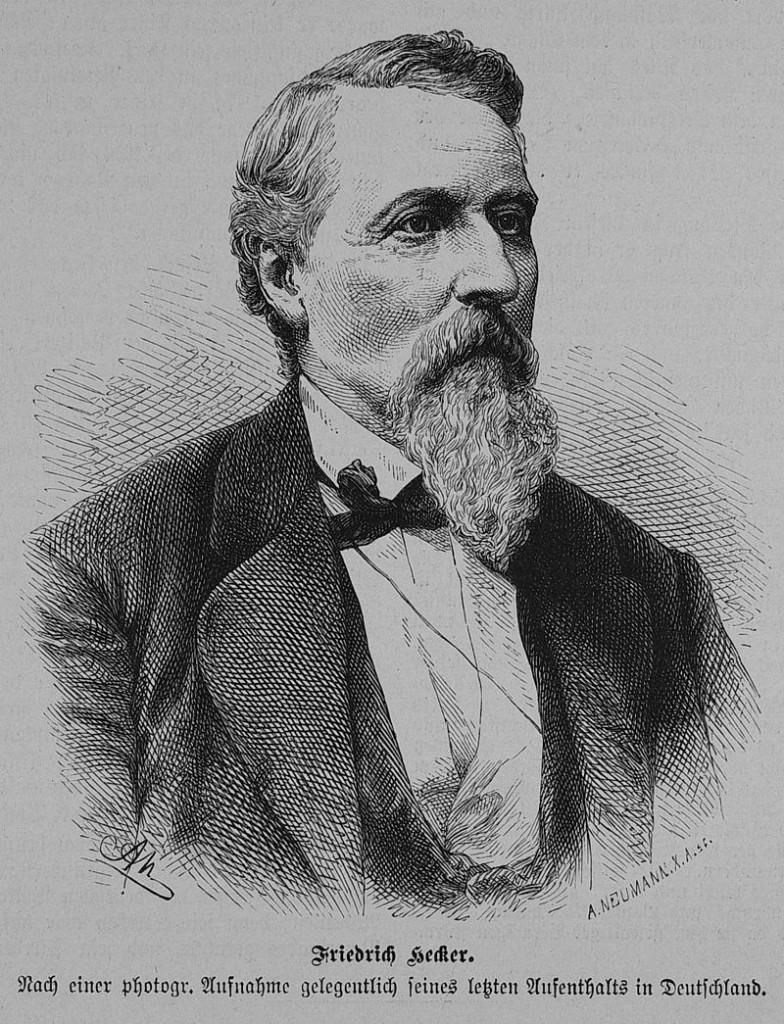 Die Erinnerung an den Revolutionär Friedrich Hecker löste lange nach seinem Tod einen Flaggenstreit aus / Bild von 1881, Gemeinfrei