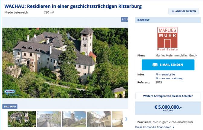 """Verkaufsanzeige für Burg Oberranna auf """"willhaben.at"""" / Bild: Screenshot willhaben.at"""