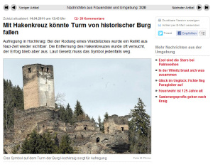 Das Hakenkreuz auf Burg Hochkraig: Die Kleine Zeitung berichtet. Bild: Screenshot kleine-zeitung.at