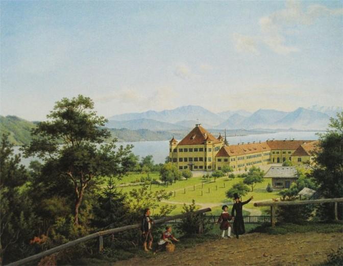 Sissis Kindheitsidyll: Schloss Possenhofen, Aquarell von 1839 von Franz Xaver Nachtmann / gemeinfrei
