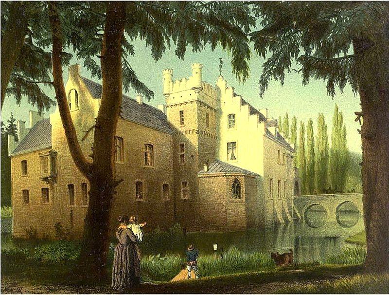 Schloss Werdringen 1860, kurz nach Ende des historisierenden Umbaus. Gemalt von Wilhelm Riefstahl / Bild: gemeinfrei