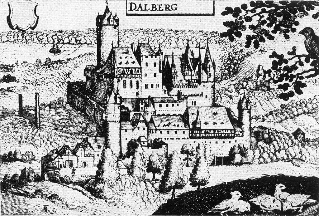 Die Dalburg noch intakt auf einem Kupferstich aus dem 17. Jahrhundert / Bild: gemeinfrei