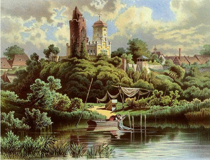 Schloss Pouch und Roter Turm um 1860 / Bild: gemeinfrei / Bild oben: Wikipedia / JWaller / CC-BY-SA 3.0